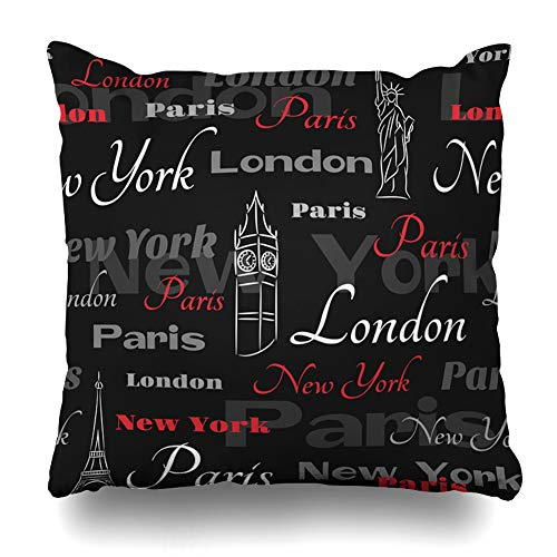 HomeOutlet Throw Pillow Cover Red Pattern Cities New York London UK Paris USA City Travel French Black Pillowcase Square Size 18 x 18 Inches Home Decor Sofa Cushion Case ()