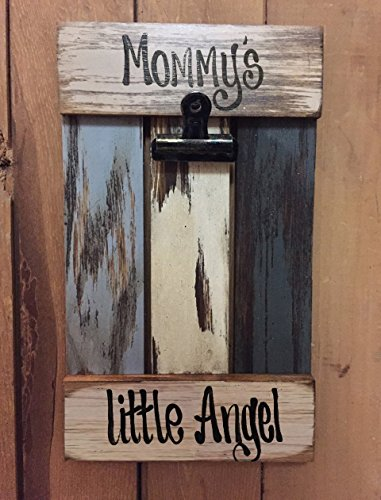Americana Style Pendant (PHOTO HOLDER Wood Pallet Wall Picture Frame Reclaimed Shutter Style - MOMMY'S LITTLE)