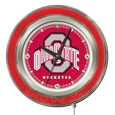 Ohio State Buckeyes NCAA Deluxe Neon Clock by HBS