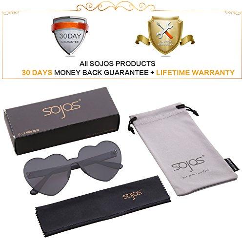 Forma Mujer Plástico De Corazón De SJ2055 Gafas Negro Para SOJOS Sol 4xpaYwqH