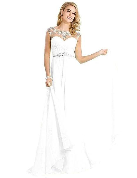 Babyonlinedress cristales Cap manga larga vestidos de noche Prom blanco blanco 46