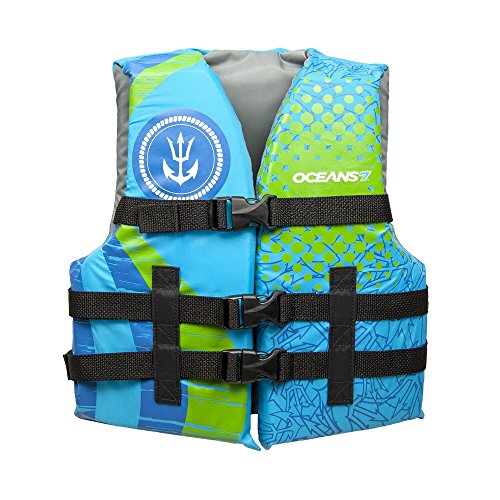 (Oceans 7 US Coast Guard Approved, Youth Life Jacket, Type III Vest, PFD, Personal Flotation Device, Blue)