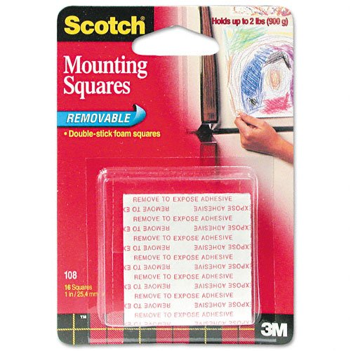 Removable Foam Mounting Squares (Scotch : Precut Foam Mounting 1 Squares, Double-Sided, Removable, 16 Squares/pack -:- Sold as 2 Packs of - 16 - / - Total of 32)