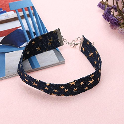 faite Star Prosperveil la Collier Bijoux Collier ras Five pour Golden femme pointed Jeans Chocker du main Denim cou FSq4zF
