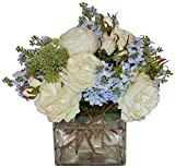 The French Bee Flower Mix in a Large Square Vase-White/Blue