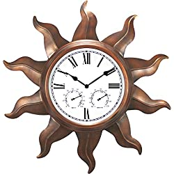 Ashton Sutton Metal Indoor/Outdoor Clock, Copper finish