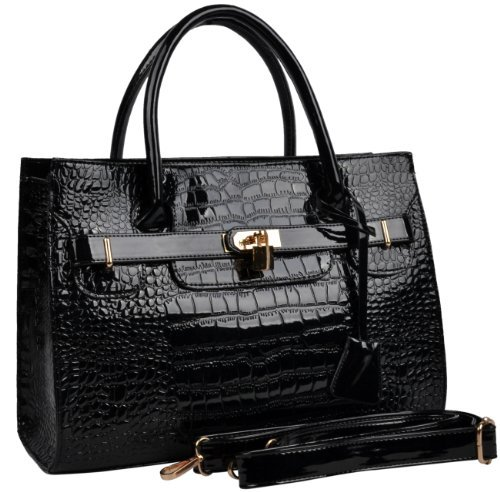 Veevan-lady Faux Leather Tote Brifecase (black)