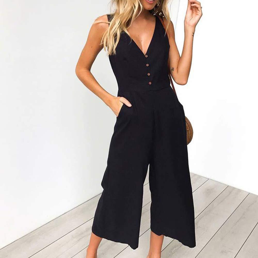 Unifizz Womens Spaghetti Strap V-Neck Jumpsuit Rompers Elastic Waist Playsuits 01-Black XL