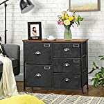 SONGMICS Wide Dresser, Fabric Drawer Dresser with 5 Drawers, Industrial Closet Storage Drawers with Metal Frame, Wooden…
