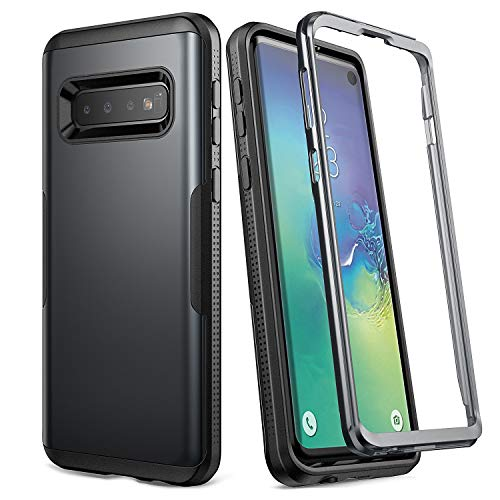 YOUMAKER Case for Galaxy S10, Metallic Black Heavy Duty Protection Full Body Shockproof Slim Fit Without Built-in Screen Protector Case Cover for Samsung Galaxy S10 6.1 inch (2019) - Black