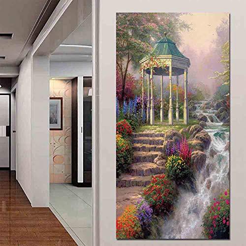 Decorative Painting European Art Painting Thomas Kinkade Works Outskirts Flowers Flowers Gazebo Waterfall Landscape Painting