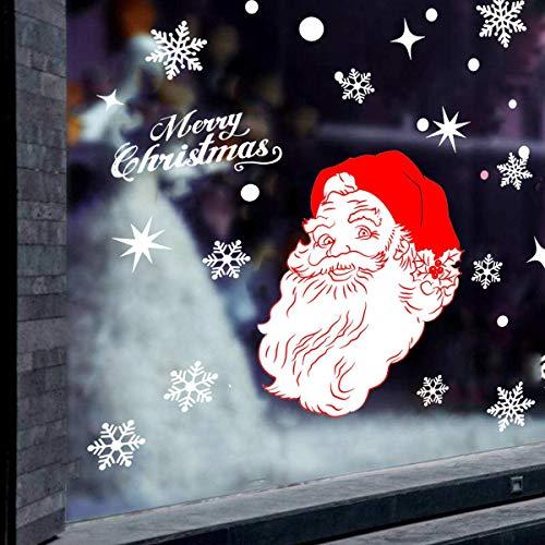 YChoice Feliz Navidad Pegatinas de Ventana Decoración Copo de Nieve Sana Claus Vidrio Extraíble Tatuajes de Pared Tienda...