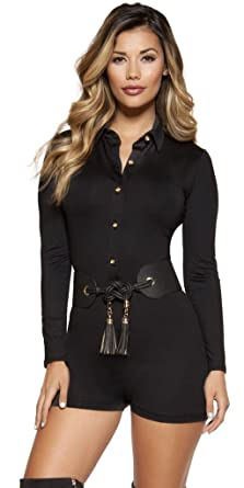 73b02787cd5 Musotica Kourtney Romper with Collared Gold Button-up Front Closure - Black  - Small