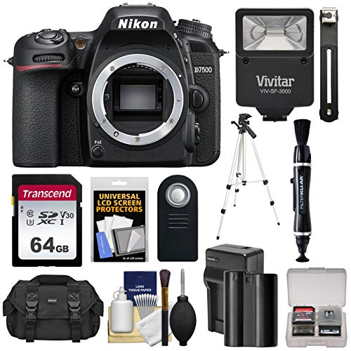 (Nikon D7500 Wi-Fi 4K Digital SLR Camera Body with 64GB Card + Battery & Charger + Case + Tripod + Flash + Remote + Kit)