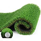 Artificial Grass Turf Thick Synthetic Rug Fake Carpet Mat Rubber Backed With Drainage Holes for Pet Dog Pad Indoor Outdoor Landscape 1.38 Inch Pile Height, 5' x 9.8' = 49 Sq Ft