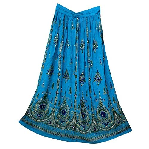 Nice Fashion of India JNB Womens Indian Sequin Crinkle Broomstick Gypsy Long Skirt Hippie Boho Ethnic