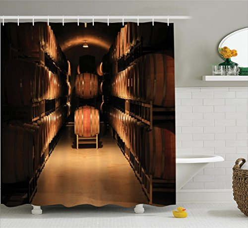 Winery Decor Shower Curtain Set By Ambesonne, Wine Barrel Stacked In Cellar Aged Old Fermenting Quality Container Storage Basement Image, Bathroom Accessories, 69W X 70L Inches, Sand Brown