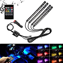 Hilifeone Car Led Strip Light, 4pcs Multicolor Car Interior RGB Led Atmosphere Decorative Glow Neon Lamp Under Dash Floor Lighting Kit with Voice Activated and IR Wireless Remote Control