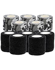 Lurrose 10 Rolls Self- Adhesive Bandage Finger Tape Non- woven Elastic Bandage Gauze Tape First Aid Wrap for Sport Sprain Swelling