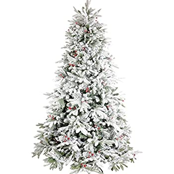 gushustore flocked christmas tree full prelit artificial hinged pine 75 feet