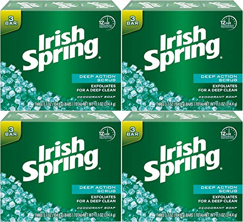 Irish Spring Deodorant Bath Bar Soap, Deep Action Scrub, with Scrubbing Beads, 3.75 Ounce Each, 3 Bar Pack (Pack of 4) 12 Bars Total