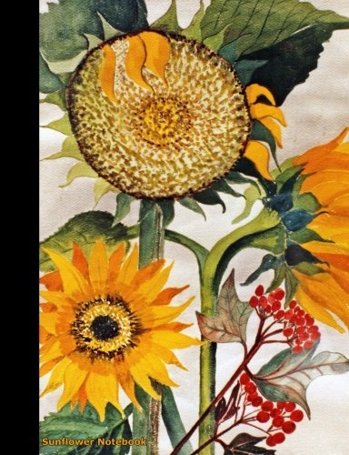 Sunflower Notebook: Flower College Ruled Composition Book Journal - Floral Softcover Perfect Bound, Lined 100 pages (50 Sheets), 9 3/4 x 7 1/2 inches (Volume 1) (Floral Gardener Gifts) (Volume 4)