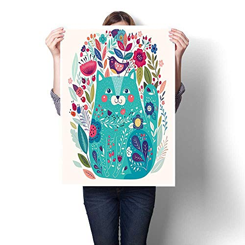 Canvas Wall Art for Bedroom Home Decorations,Cute Kitty Surrounded by Birds Flowers Ladybugs Inspirational Folk Baby Illustration Green Canvas,for Home Decoration No Frame,16
