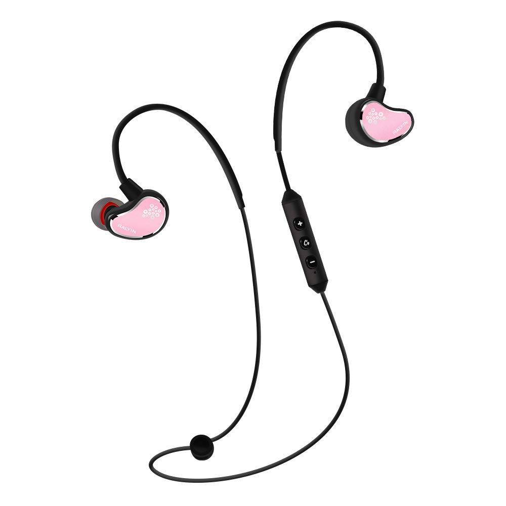 Ralyin Earhook Bluetooth Headphones Wireless Earbuds Sport Headset for Running Earphones with Mic Audifanos Women Men Boy Kids Girl Small Ear,Adjustable Exercise (Pink)