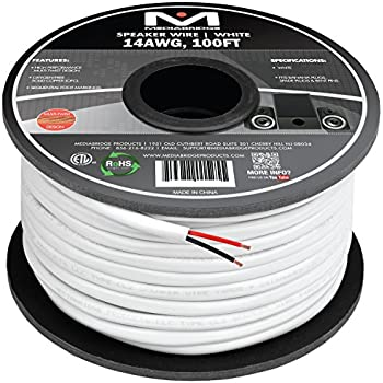 Mediabridge 14AWG 2-Conductor Speaker Wire (100 Feet, White) - 99.9% Oxygen Free Copper - ETL Listed & CL2 Rated for In-Wall Use (Part# SW-14X2-100-WH )