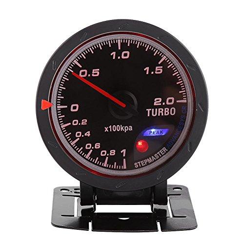 60mm LED Turbo Gauge Boost Meter, Car Boost Gauge Vacuum Press Black Shell Universal for Auto Racing Car 0-200 Kpa: