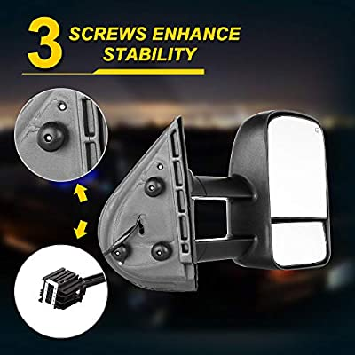 OCPTY Pair of Towing Mirrors Telescopic Extending Power Heated Tow View Mirror for ChevyGMC SilveradoSierra 2007-2013 Models (08 09 10 11 12 Models and 07 New Body Style): Automotive