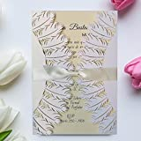 Laser Cut Pure White Wedding Invitations, Feather Wedding Invitation Cards Upgrade Envelopes -- Set of 50 pcs