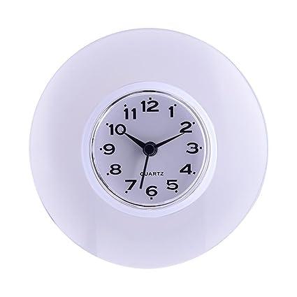GLOGLOW Orologio da parete impermeabile mini carino bagno cucina specchio  di aspirazione orologio da parete doccia orologi al quarzo per la casa ...