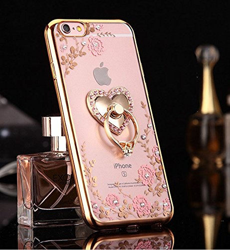iPhone 6S Plus/6 Plus Case,Soft TPU Silicone Shiny Gold Electroplate Bumper Pink Glitter Bling Crystal Rhinestone Heart Shape Diamond Finger Ring Holder/Grip Cover for Apple iPhone 5.5 Inch ()