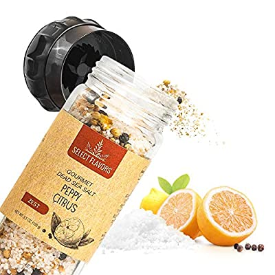 Select Flavors Gourmet Flavored Peppy Citrus Seasoning Salt 3.5 oz Grinder Top
