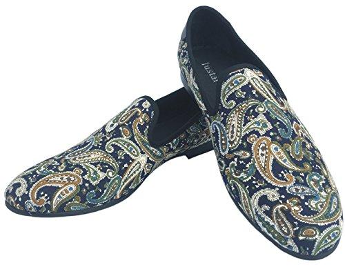 Justar Mens Mocassini Designer Casual Scarpe Eleganti In Pelle Da Sera Slip On Stampato Pantofole Da Guida Appartamenti Blu Rosso Blu