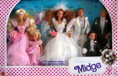 Barbie Wedding Party MIDGE Gift Set w 6 Dolls: Barbie, Ken, Midge, Allen, Kelly & Todd (1990)
