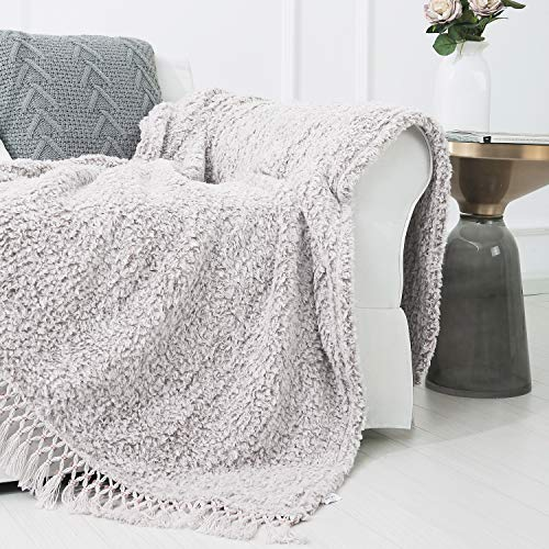 SEDONA HOUSE Back Printing Sherpa Throw Blanket with Tassels (Light