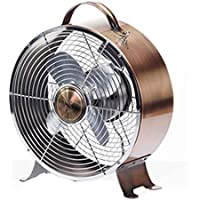 DecoBREEZE Retro Table Fan 2 Speed Air Circulator Fan, 9 In, Brushed Copper