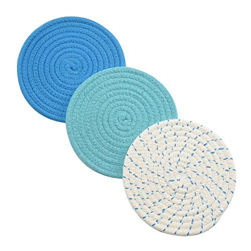 Jennice House Pot Holders Set Trivets 100% Pure Cotton Thread Weave Hot Pot Holders Set (Set of 3) Stylish Coasters, Hot Pads, Hot Mats, Spoon Rest for Cooking and Baking by Diameter 7 Inches