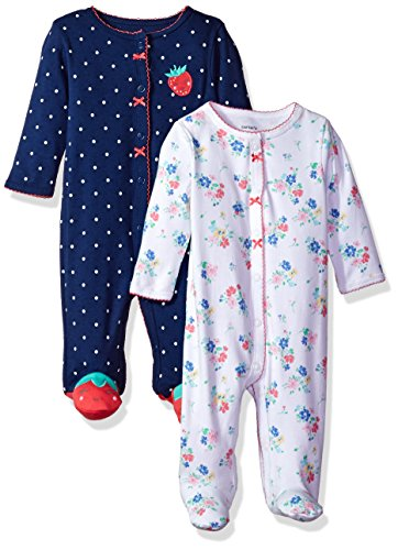 Carter's Baby Girls' 2-Pack Cotton Sleep and Play, Strawberry/Floral, 9 Months