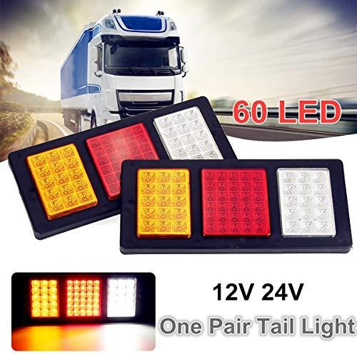 2pcs 60 LED 12V 24V Car Rear Tail Reverse Lights Truck Caravan Trailer Stop Indicator Lamp for Trailers Trucks Utes Caravans