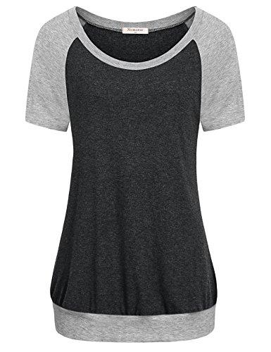 Line Tee Short Crewneck Sleeve (Nomorer Short Sleeve Tops for Women, Crew Neck Solid A-Line Shape Color Block Tee Shirts (Deep Grey XXX-Large))