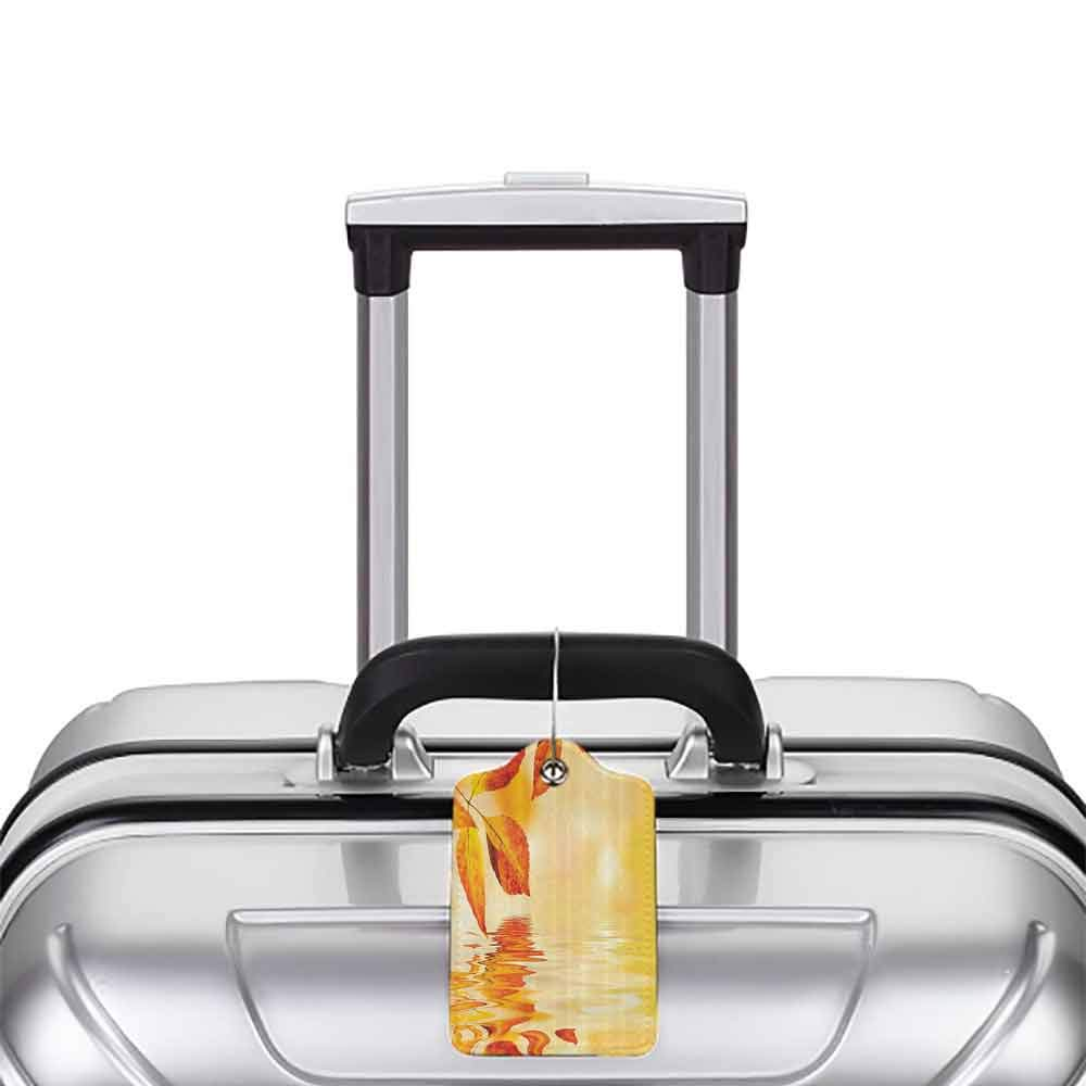 Multicolor luggage tag Burnt Orange Decor Autumn Maple Leaves Shadow On The Water With Mystic Magical Sun View Sadness Art Hanging on the suitcase Golden Orange W2.7 x L4.6