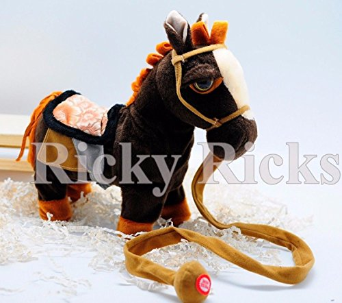Pony Pull Toy (Dark Brown Walking Horse Pony Musical Singing Toy Plush Doll Saddle Riding Electronic)