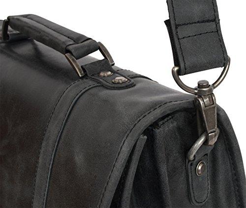 """Gusti Cuir studio """"Greg"""" sac notebook sac à bandoulière sac avec anse sac en cuir malette serviette porte-document pour notebook 17"""" avec doublure imperméable unisexe marron 2H5-20-6wp"""