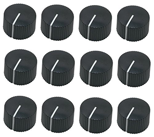 12 pcs round serrated black knobs with teeth for amp guitar pedal (Knobs Amplifier)