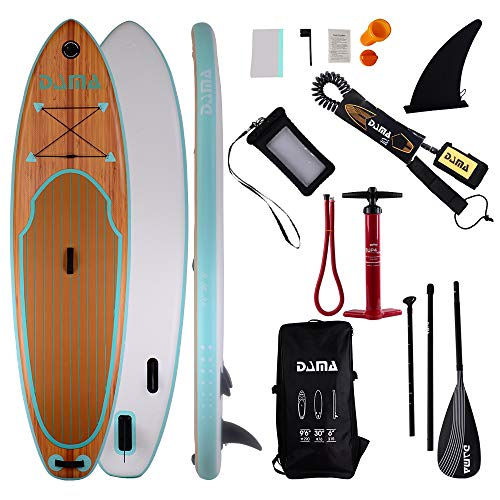 DAMA ISUP Inflatable Stand up Paddle Board (9'6''), fin,Carry Bag,Paddle,Hand Pump,Leash,Repairing kit,Waterproof Phone Pouch,for Beginners and Professional Youth and Adult,Wood Grain