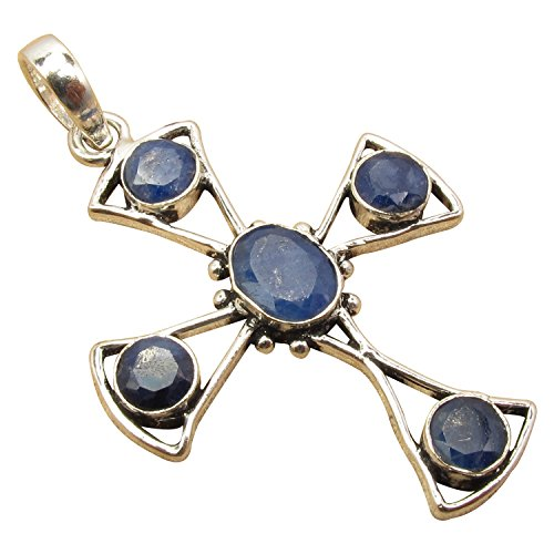 Artisan CROSS Pendant ! 925 Sterling Silver Plated Antique Style Online Jewelry Store (Antique Sapphire Cross)