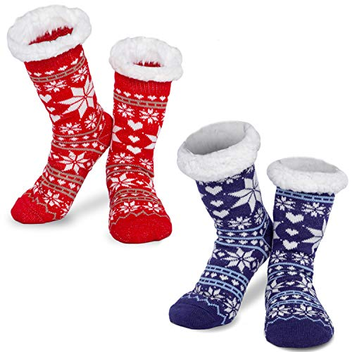 JOYIN 2 Pack Women's Fleece Lining Fuzzy Soft Slipper Socks for Winter Christmas, Holiday or Birthday Gift